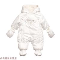 冬季婴儿衣服冬�b0-3个月连体衣婴儿加厚棉衣外出抱衣6新生儿哈衣冬季秋冬新款 白色 下周涨价到259 66cm(柔软风