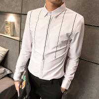 韩版长袖衬衣英伦绅士刺绣休闲夜店青年帅气衬衫潮男修身寸衣