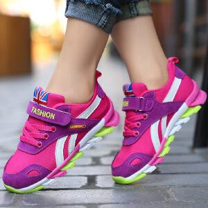 运动鞋 男女童秋季韩版新款低帮拼色防滑耐磨平底跑步鞋时尚舒适中大童款式休闲鞋