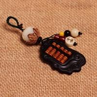 菩提子羊角如意算盘手工创意男女情侣汽车钥匙扣挂件饰品 咖啡色 菩提莲花黑牛角