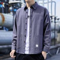 啄木鸟 2021新款男士长袖衬衫休闲宽松工装外套衬衣