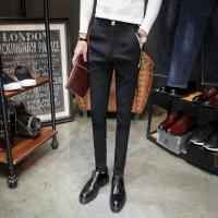 新款韩版修身小脚裤男秋季弹力男士裤子潮流黑色休闲裤紧身长裤