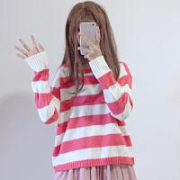 秋冬女装韩版学生长袖宽松条纹套头针织衫毛衣甜美打底衫