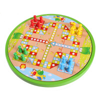 跳棋飞行棋五子棋五合一木制桌面游戏玩具