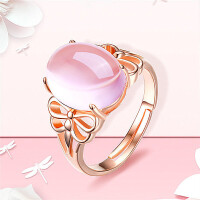 日韩版复古925纯银饰品玫瑰金粉色粉水晶芙蓉石宝石女开口戒指环 实物更美丽