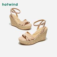 【限时特惠 1件4折】女士坡跟凉鞋一字扣带时装凉鞋H55W9203
