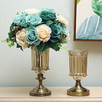 欧式创意玻璃花瓶水晶摆件客厅现代简约新古典美式插花装饰品摆设