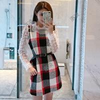 2018春季新款时尚气质名媛蕾丝长袖格子拼接打底短款连衣裙女装潮