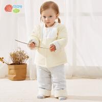 贝贝怡宝宝秋冬季套装新款洋气男女童加厚保暖上衣裤子2件套194T408