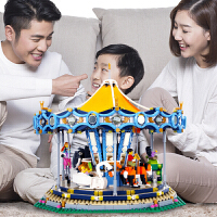 兼容乐高游乐场绝版旋转木马成人高难度电动拼装积木男孩女孩玩具