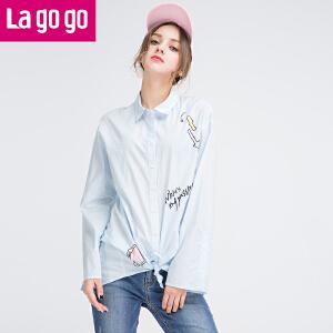 Lagogo17春新款百搭印花长袖纯棉衬衫女纯棉学生软妹衬衣宽松上衣