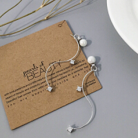珍珠耳环女日韩国s925银气质长款吊坠新款性感复古 珍珠锆石弧形耳环不同向