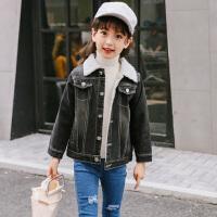 乌龟先森 外套 女童加绒加厚长袖翻领上衣冬季新款韩版儿童时尚休闲舒适百搭中大童牛仔衣