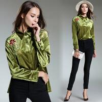 女装秋装2017新款欧洲站长袖翻领重工刺绣绿色丝绒衬衣上衣