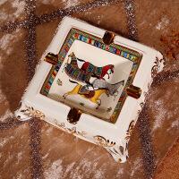 欧式奢华陶瓷烟灰缸客厅茶几装饰品创意个性复古大号烟缸摆件马