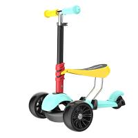儿童滑板车3轮三合一可坐可滑闪光1-2岁溜溜车6岁滑滑玩具男孩女 缤纷彩色 篮黄色