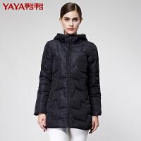 鸭鸭(YAYA)2018女装冬装女士羽绒服中长款几何压线修身连帽加厚潮B-2471