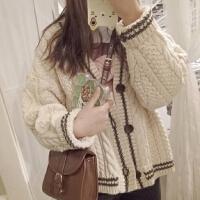 春装新款韩版复古百搭条纹长袖针织衫宽松显瘦V领毛衣开衫外套女