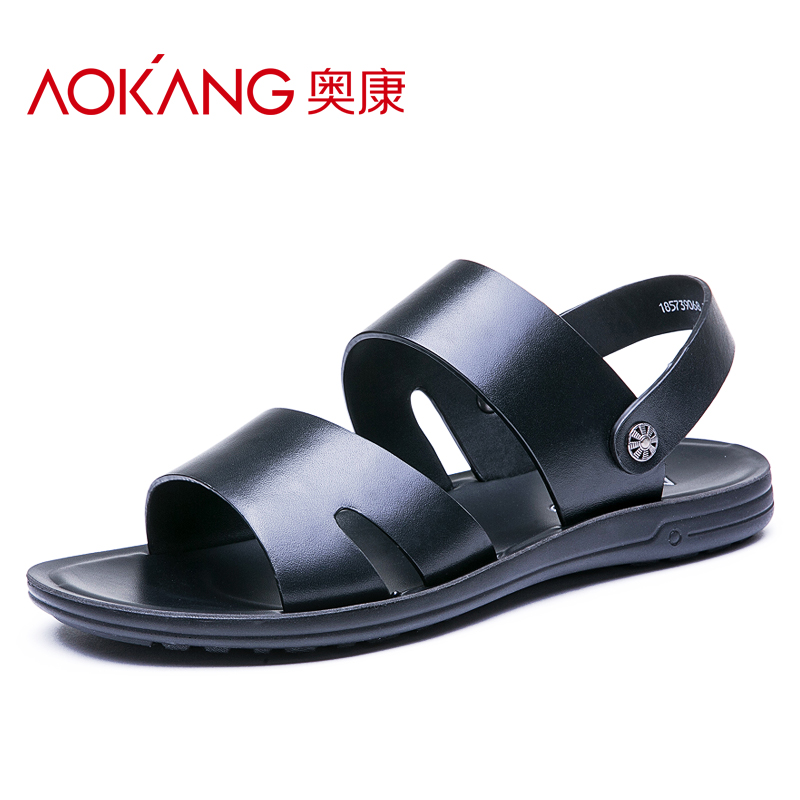 奥康男士凉鞋夏新款舒适休闲露趾凉鞋沙滩鞋