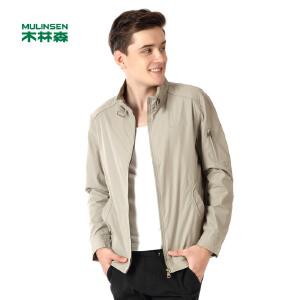 木林森男装  新款休闲男士简约纯色立领夹克 保暖防风舒适外套01171002