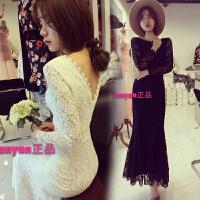 春季新款韩版女装性感中长款露背露背蕾丝礼服鱼尾连衣裙
