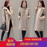 皮毛一体仿羊羔毛外套女中长款2018冬季新品韩版鹿皮绒加厚保暖棉衣