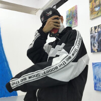 韩国INS同款SMTM字母织带拼接风衣外套 18ss男女款