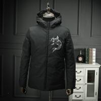 中国风年年有鱼中长款秋冬棉衣黑色刺绣个性青年外套修身简约