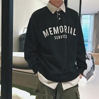 2018春季男士新款衬衫领假两件套头青年学生卫衣字母印花春装外套