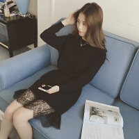 慈姑秋冬装韩版新款蕾丝收腰中长款显瘦打底裙子套头长袖针织连衣裙女 均码
