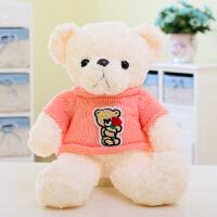 彩色毛衣泰迪熊小熊公仔毛绒玩具抱抱熊玩偶女孩生日礼物 粉红色 粉毛衣白色熊 50厘米
