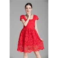连衣裙夏季新款女装欧美性感镂空蕾丝中裙短袖修身气质公主裙