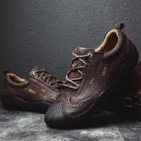 防滑爬山鞋子男轻便耐磨越野徒步鞋男鞋牛皮日常休闲鞋耐磨系带低帮鞋