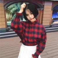 2017秋季新品韩版复古格子木耳边衬衫女宽松显瘦学生灯笼袖外套潮 均码 (160/84A)
