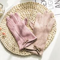 春秋季开车羊毛手套女士薄款秋冬季保暖韩版可爱五指冬天触屏手套