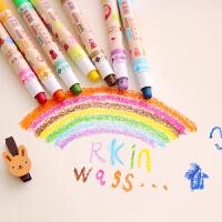 【满100减40】 乌龟先森 油画棒 12色可旋转蜡笔固体炫彩棒可水洗儿童涂鸦笔彩色绘画图画棒盒装画具画材学生学习用品