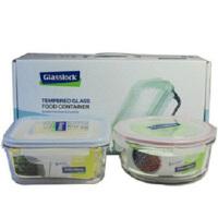 Glasslock 三光云彩韩国进口微波钢化玻璃保鲜盒饭菜盒收纳盒GL100A便当盒两件套