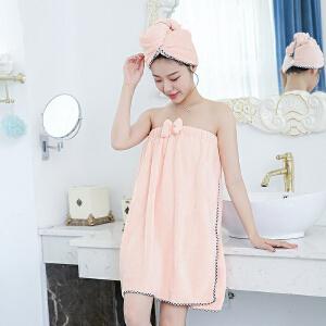 物有物语 可穿浴巾 珊瑚绒浴裙浴帽两件套蝴蝶结可爱成人吸水抹胸浴巾女士汗蒸服浴袍套装