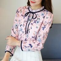 雪纺衫女长袖 春装新款韩版蕾丝小衫立领宽松上衣喇叭袖女衬衫