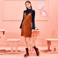 【3折到手价:120】【满399减80】俏皮两件套女秋冬季韩版小香风显瘦学生针织打底衫吊带裙套装
