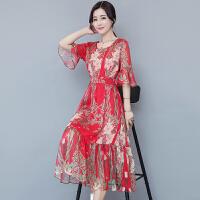 雪纺碎花沙滩度假长裙夏季新款女波西米亚大码显瘦气质连衣裙