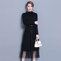 小香风连衣裙秋冬新款韩版时尚打底中长纱网裙子收腰减龄显瘦