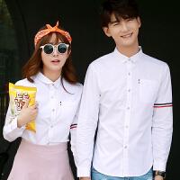 新款双条杆纯色男士衬衣韩版学院风简约情侣衬衫秋装长袖立领学生