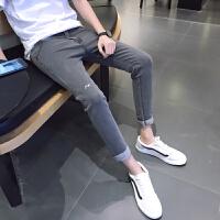 九分牛仔裤男小码26 27码修身小脚裤春季青少年弹力韩版学生9分裤