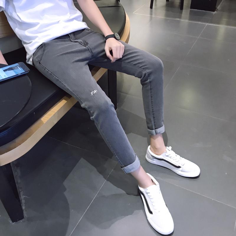 九分牛仔裤男小码26 27码修身小脚裤春季青少年弹力韩版学生9分裤 发货周期:一般在付款后2-90天左右发货,具体发货时间请以与客服协商的时间为准