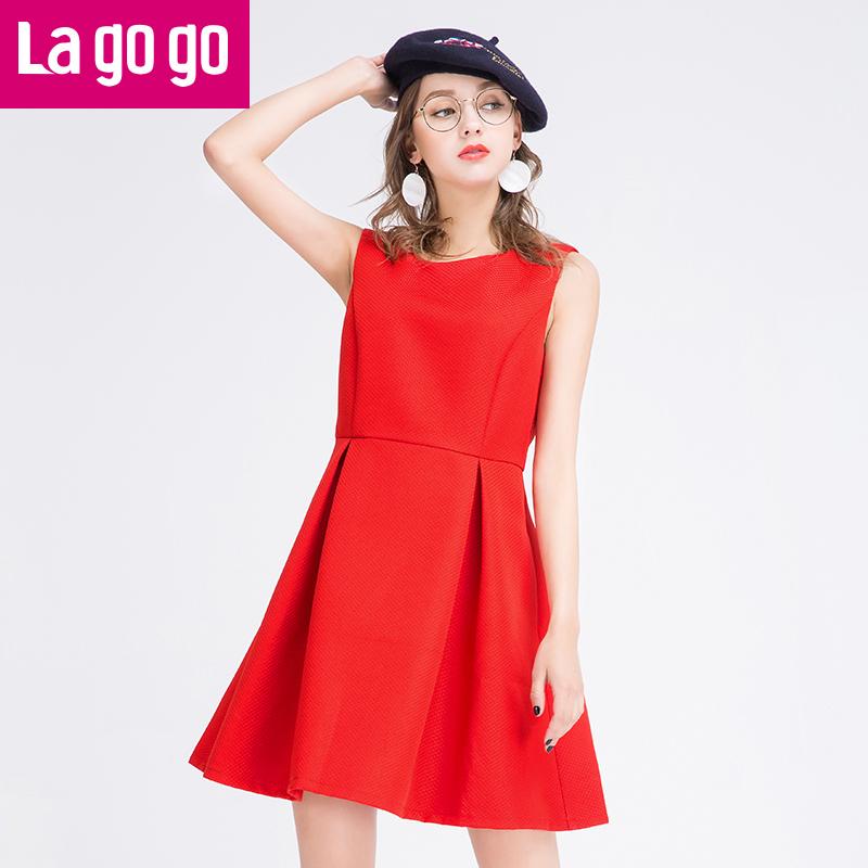 Lagogo2017春夏季新款红色百褶裙子高腰显瘦无袖短裙女连衣裙