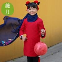 【618大促-每满100减50】柚儿童装 儿童棉旗袍 棉麻中式棉袄 旗袍 宝宝儿童女童唐装 女童连衣裙 中国风亲子 加