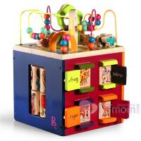美国B.Toys宝宝绕珠百宝箱多功能大号儿童木质串珠玩具1-3周岁