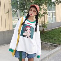 女装秋装2018新款韩版宽松破洞印花长袖T恤卫衣学生休闲套头上衣