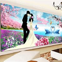 3D婚庆十字绣卧室系列结婚十字绣情侣新款喜庆类婚纱浪漫温馨天鹅